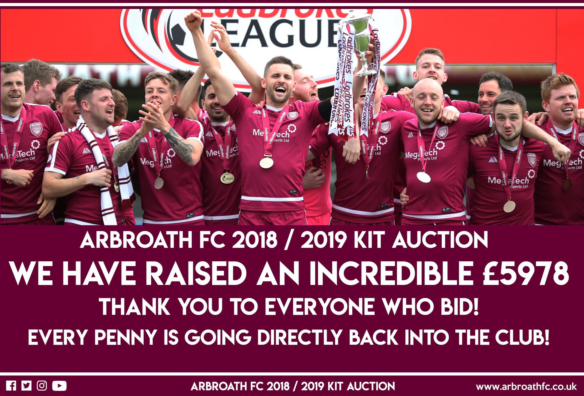 6e2b99b4b8f Arbroath FC Kit Auction – £5978
